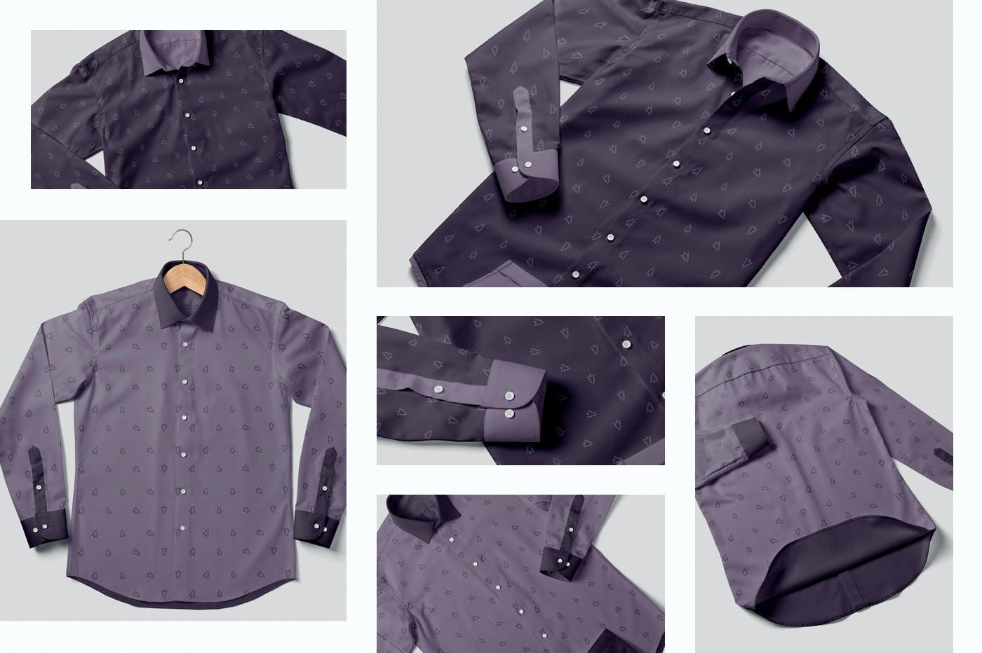 男士纽扣衬衫印花设计PS贴图样机模板 Button Up Shirt For Men Mockups插图1