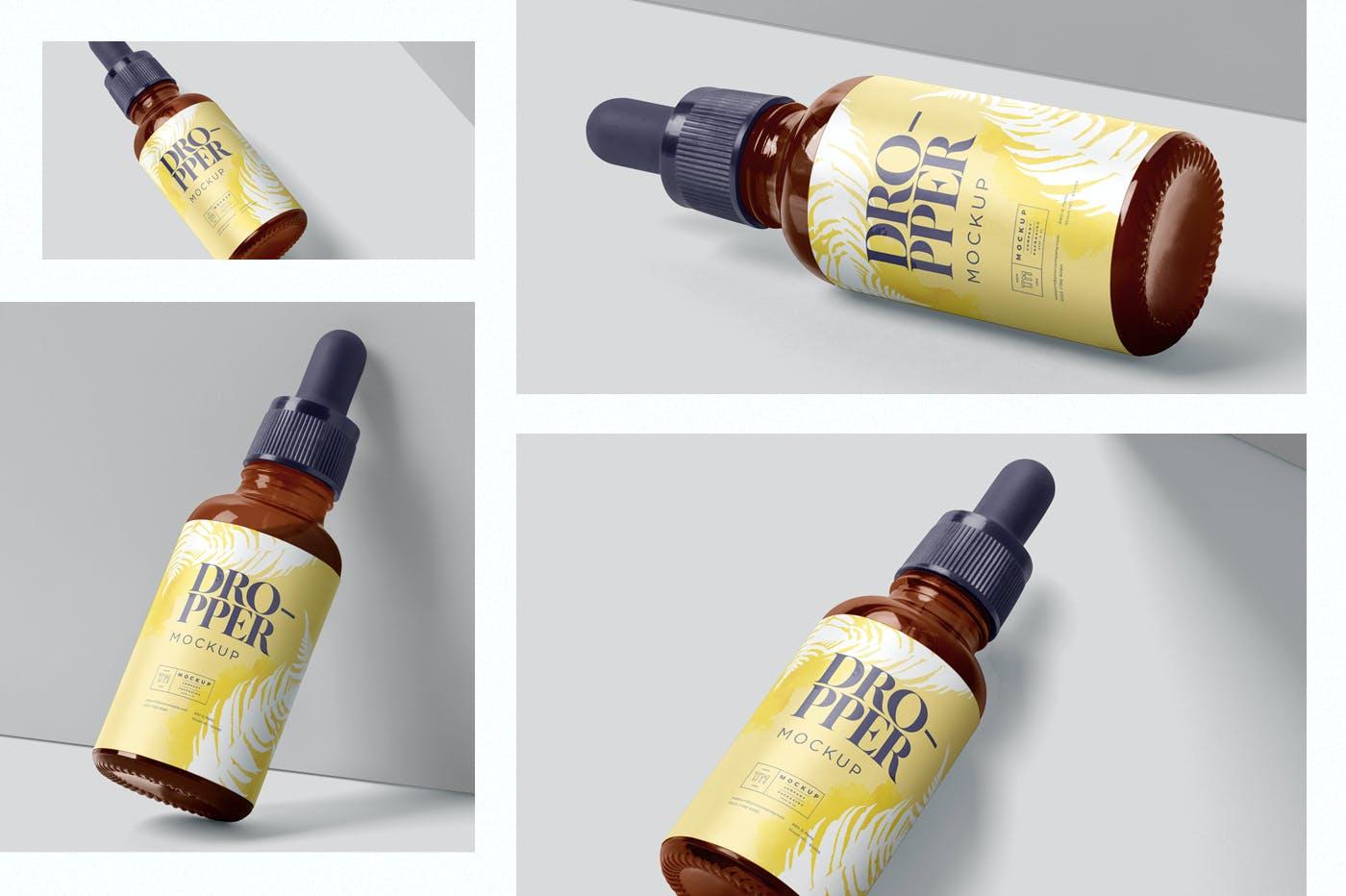 4款医疗药物化妆品滴灌瓶包装盒设计展示贴图样机 Dropper Bottle Mockups插图1