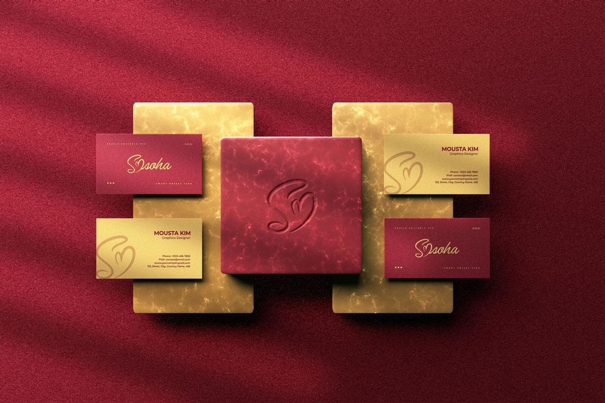 优雅商务名片卡片设计展示PSD样机模板 Elegant Business Card Mockup插图1