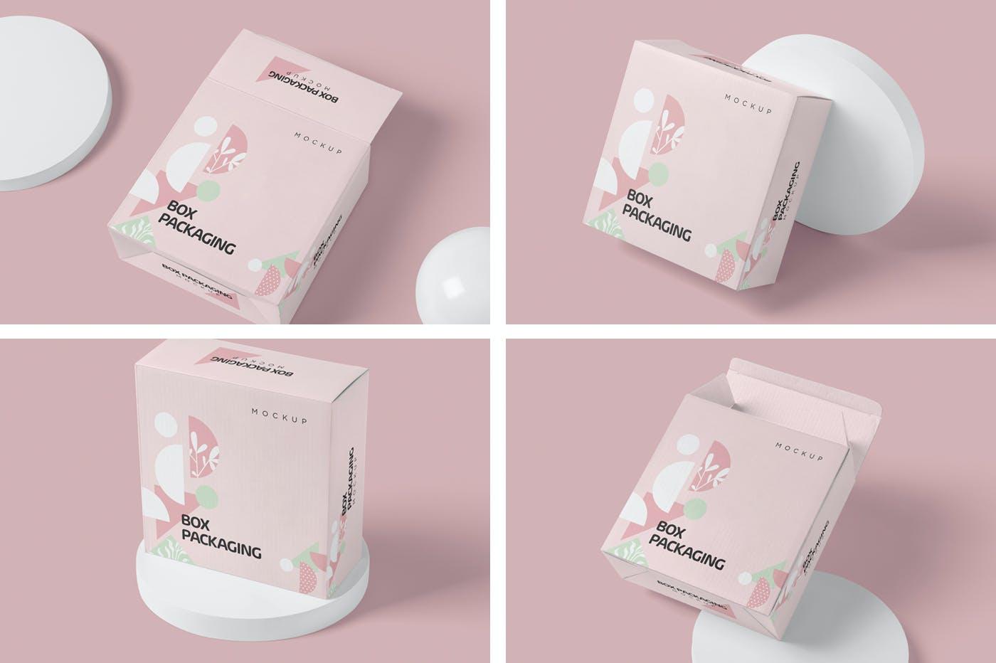 4款时尚产品包装纸盒外观设计PSD样机 Box Packaging Mockups插图1