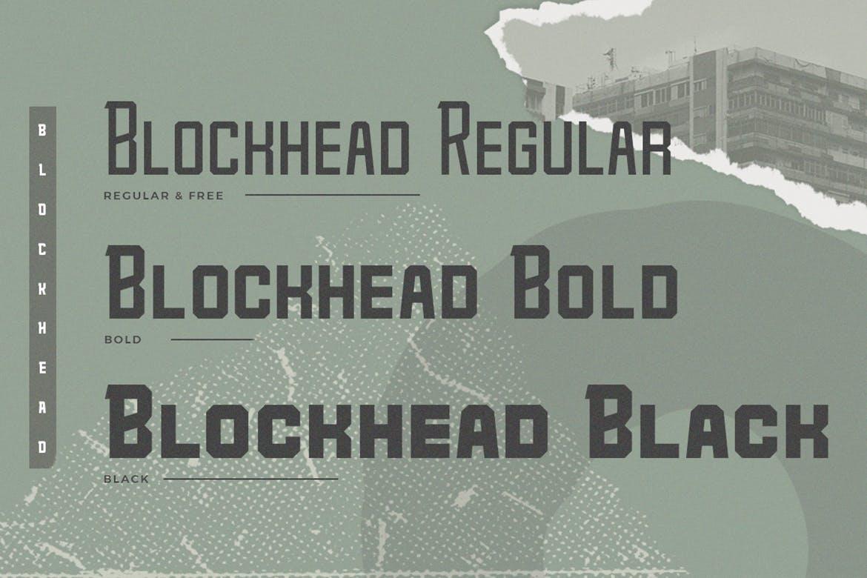 力量几何标题Logo设计衬线粗体英文字体 Blockhead Typeface Bold Geometric Font插图1