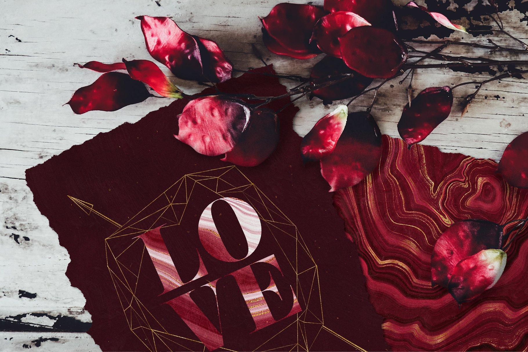 10款抽象奢华红色玛瑙石金箔纸纹理背景图片设计素材 Gold Veined Red Agate Textures插图18