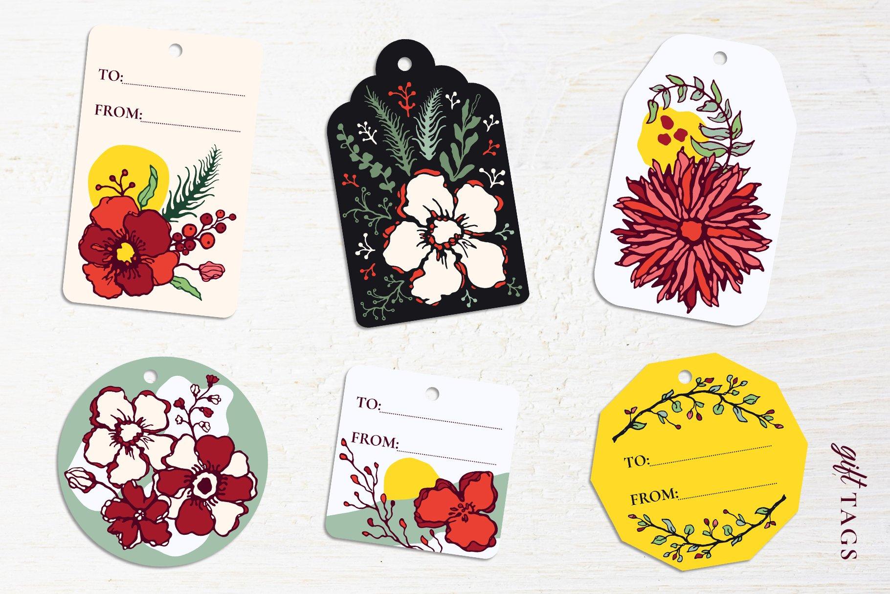 150多款时尚优雅花卉框架抽象形状手绘插画设计素材 Winter Floral Patterns & Elements插图20