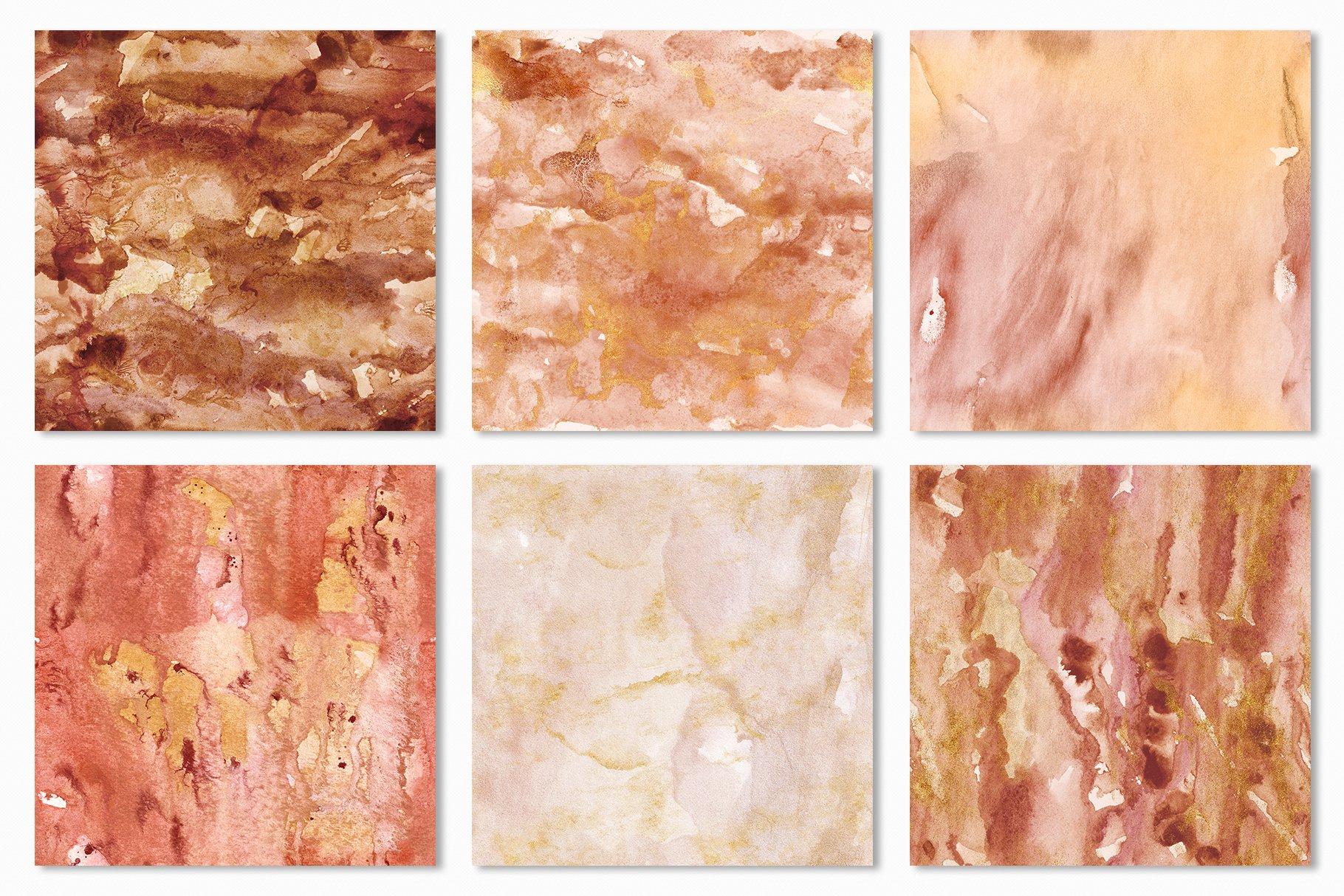 [单独购买] 20款抽象奢华橙色水彩纹理海报设计背景图片素材 20 Seamless Watercolor Textures插图19