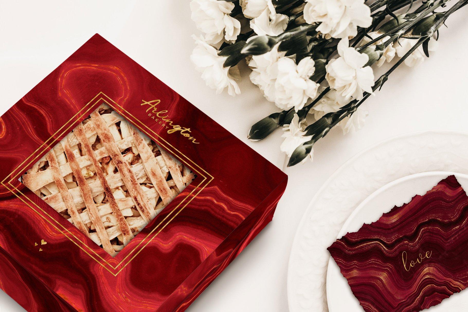 10款抽象奢华红色玛瑙石金箔纸纹理背景图片设计素材 Gold Veined Red Agate Textures插图19