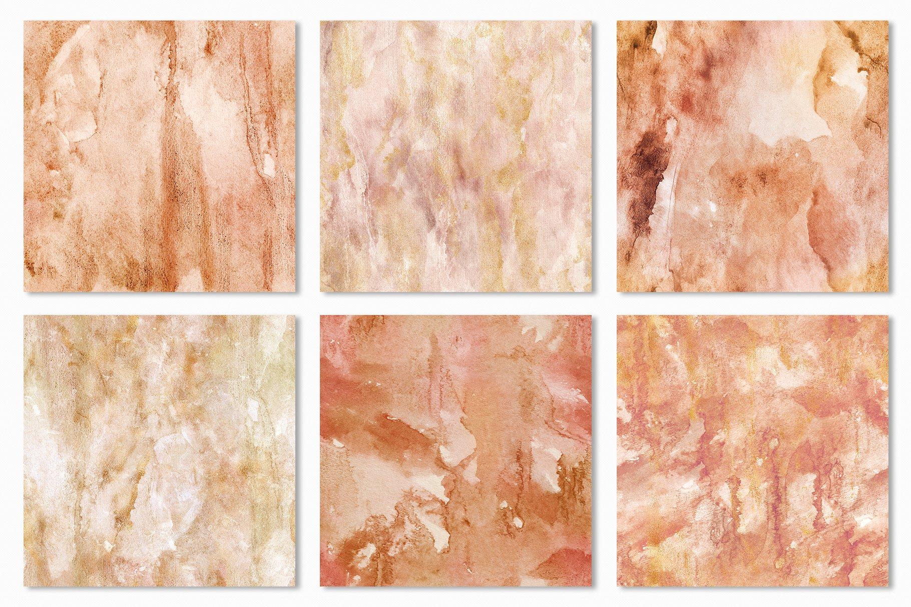 [单独购买] 20款抽象奢华橙色水彩纹理海报设计背景图片素材 20 Seamless Watercolor Textures插图20
