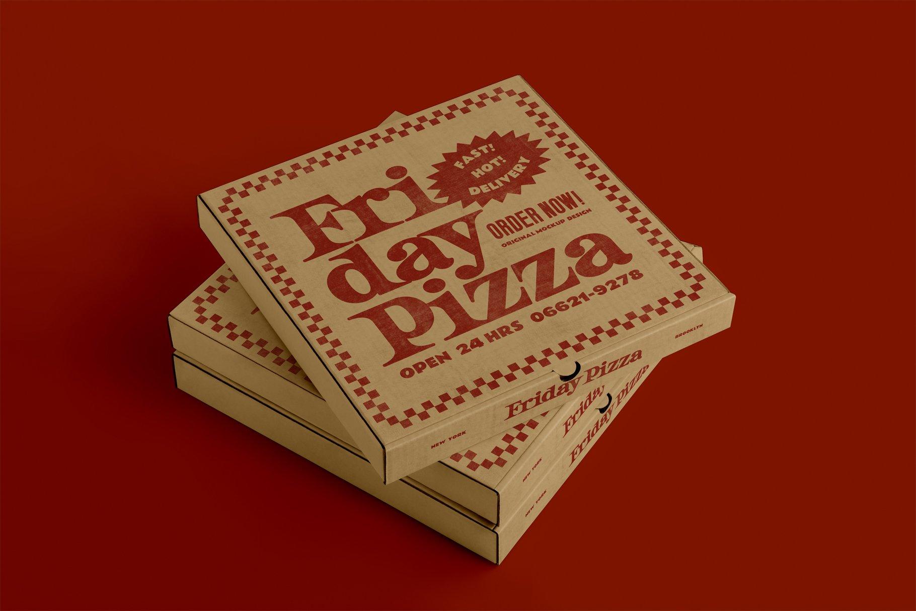 3款比萨外卖包装纸盒设计展示贴图样机 3 Pizza Box Mockup插图1