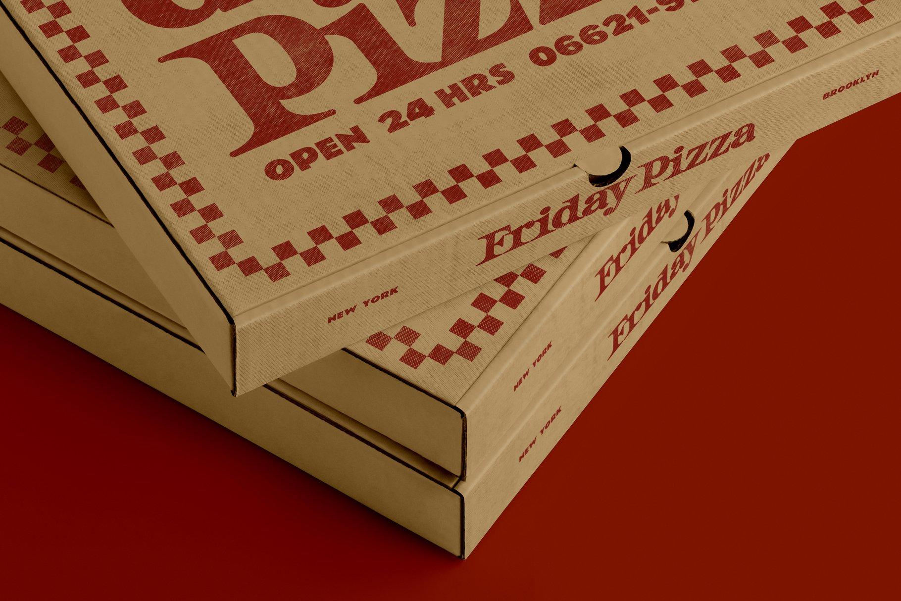 3款比萨外卖包装纸盒设计展示贴图样机 3 Pizza Box Mockup插图2