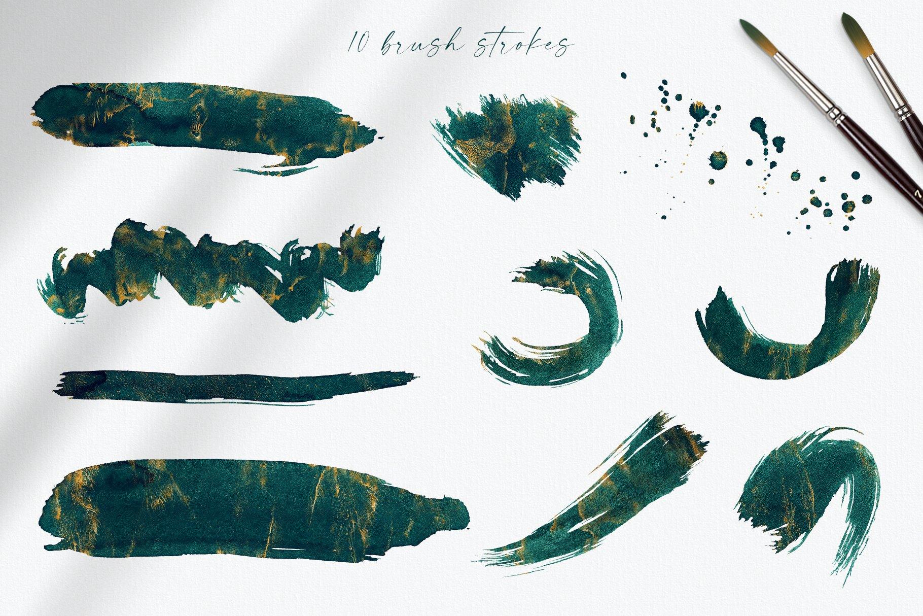 30款奢华翡翠墨绿流金水彩抽象艺术装饰背景底纹图片素材 Seamless Watercolor Backgrounds插图22