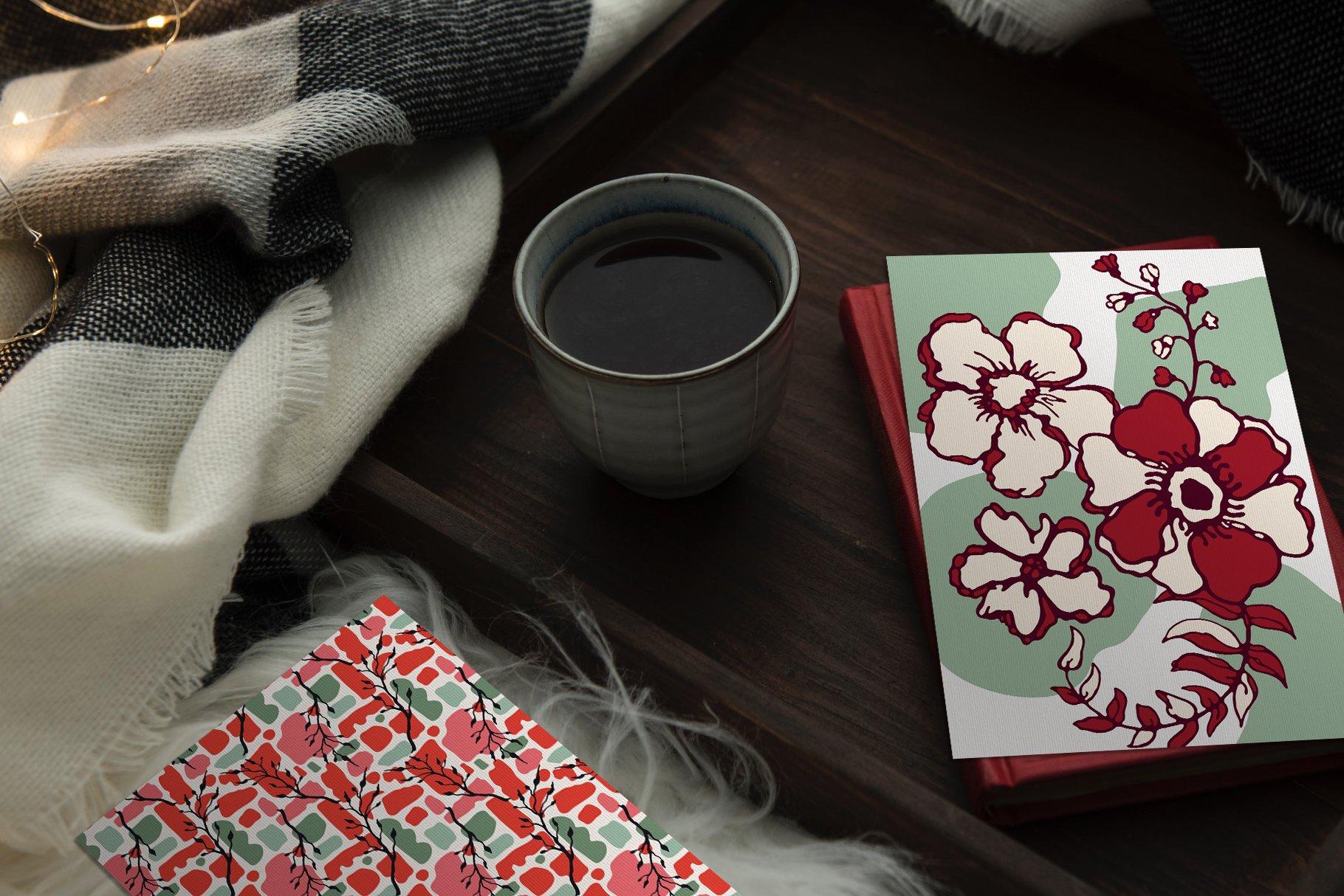 150多款时尚优雅花卉框架抽象形状手绘插画设计素材 Winter Floral Patterns & Elements插图24