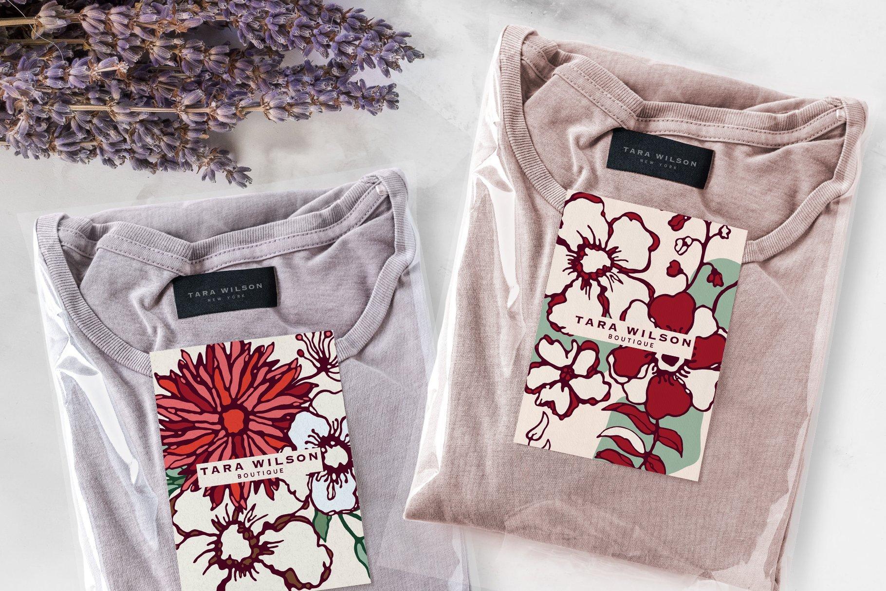 150多款时尚优雅花卉框架抽象形状手绘插画设计素材 Winter Floral Patterns & Elements插图28