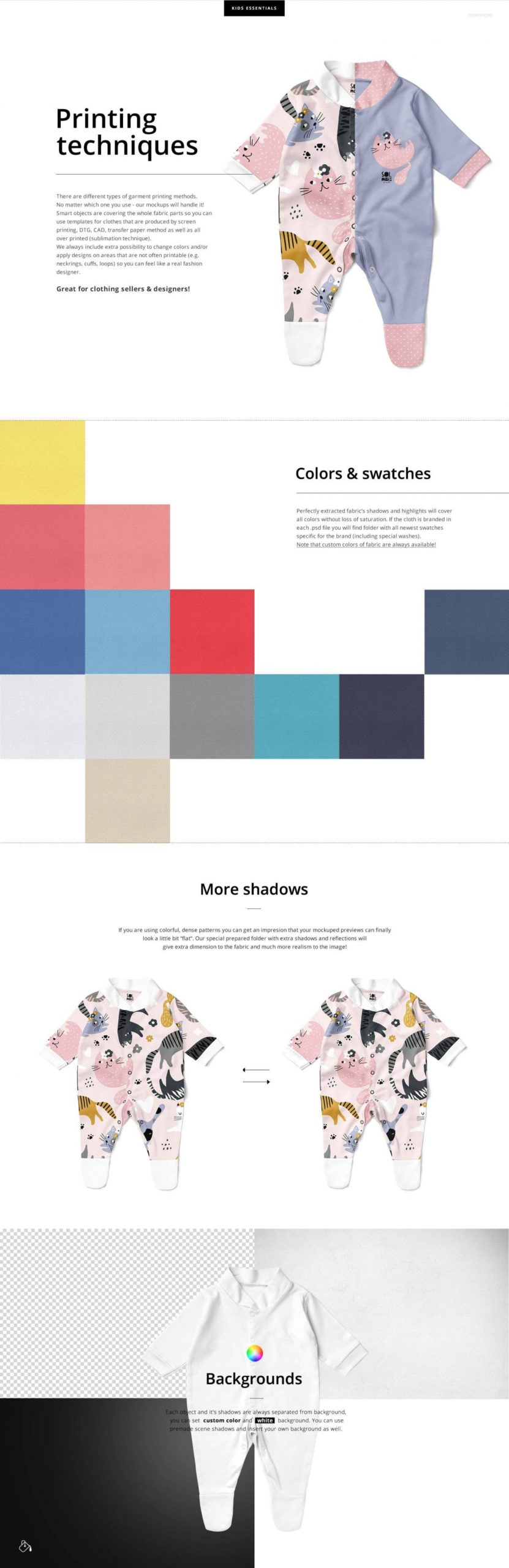 时尚婴儿连衣睡衣印花图案设计PS展示贴图样机合集 Babygrow Sleepsuit Mockup Set插图2