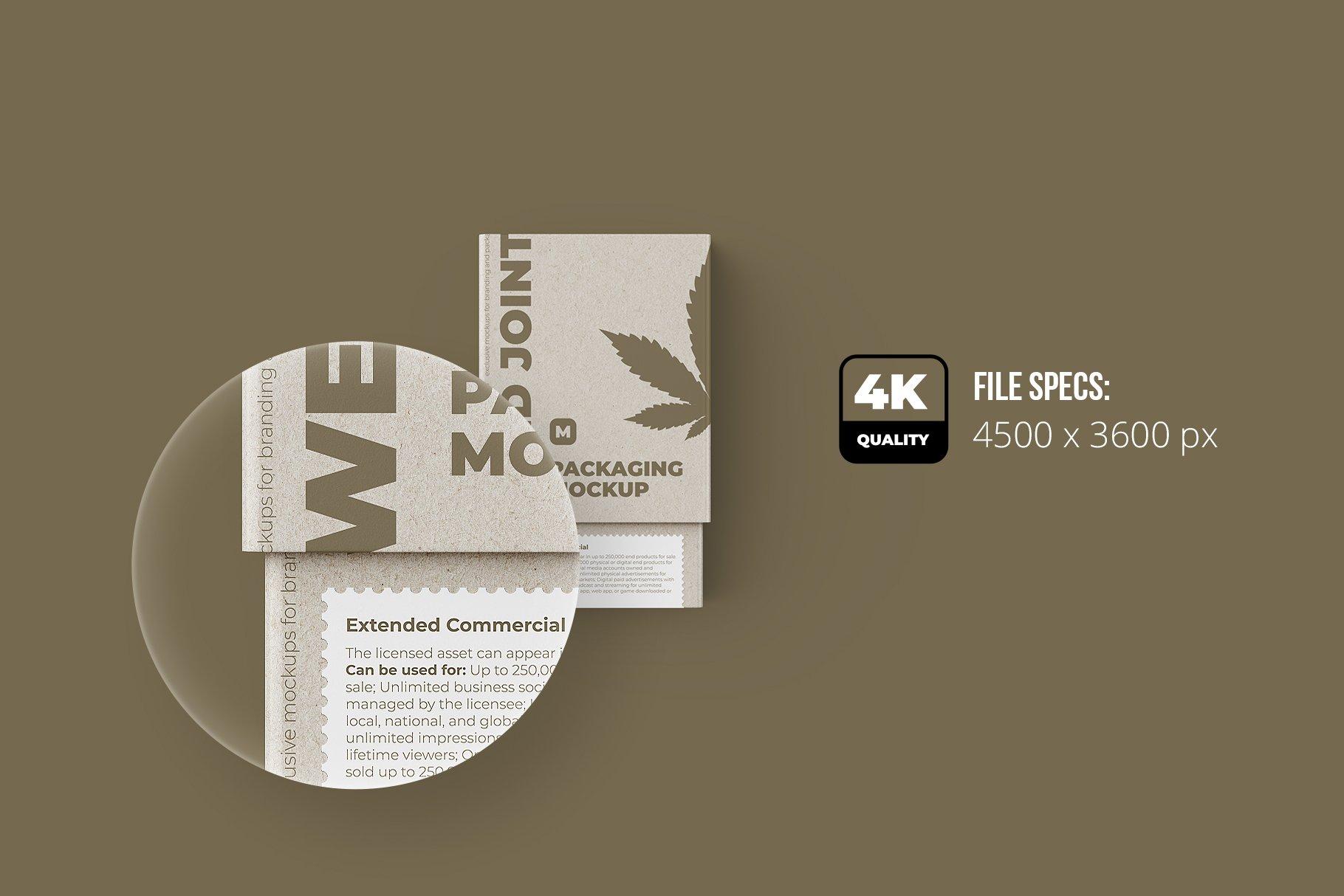 烟草香烟雪茄包装纸盒设计展示贴图样机 Weed Joint Packaging Mockup插图2