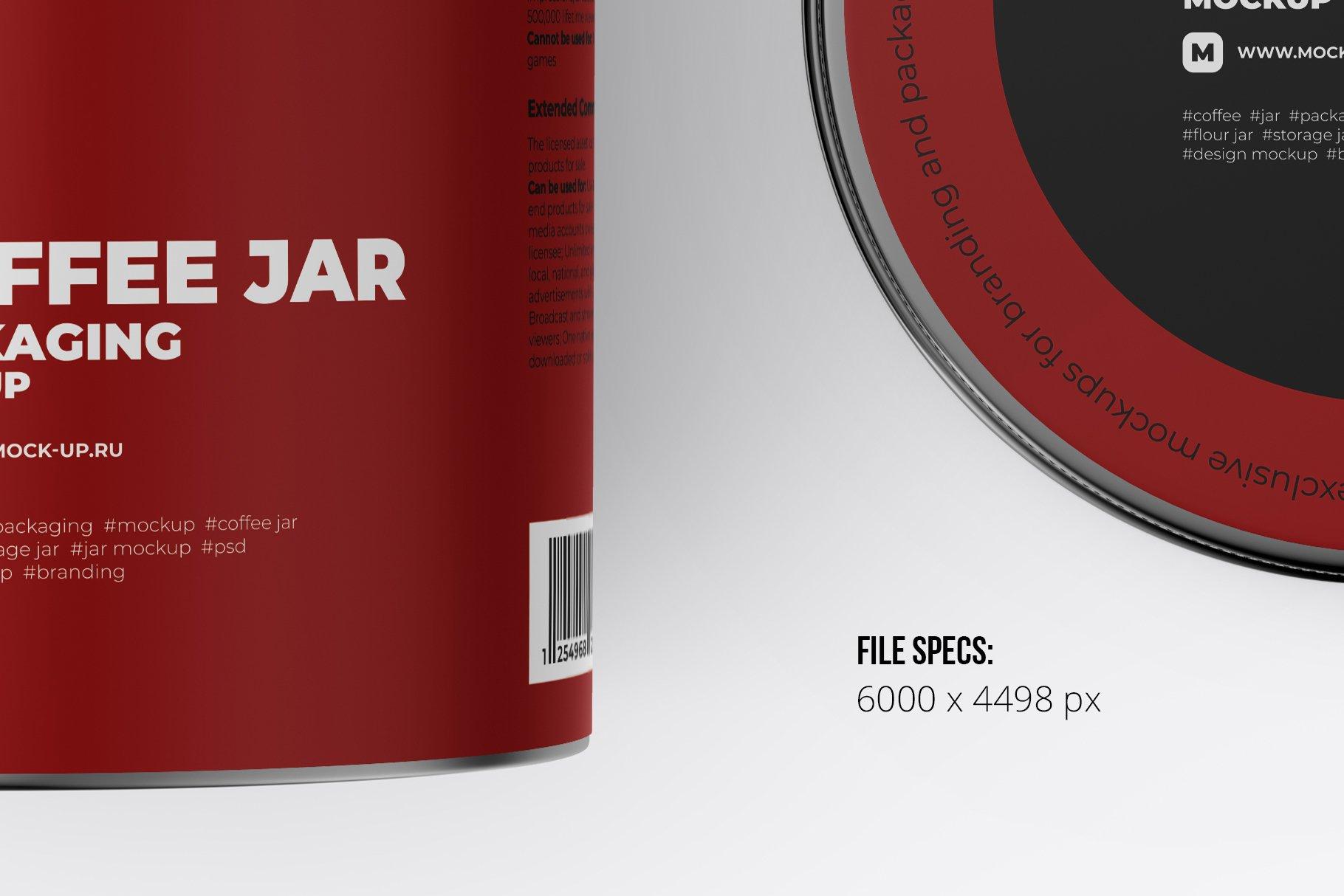 顶视图开盖茶叶零食金属罐标签设计展示贴图样机 Metallic Storage Open Jar. Top View插图1
