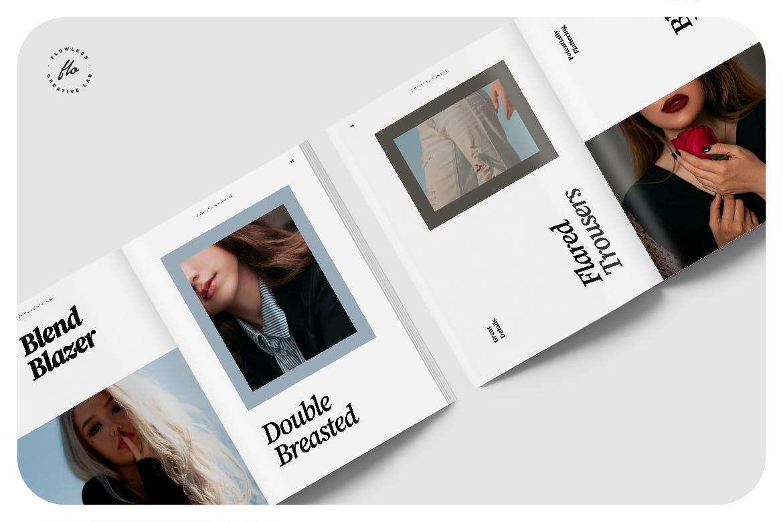极简主义摄影作品集画册设计INDD模板素材 Creme Editorial Fashion Lookbook插图2