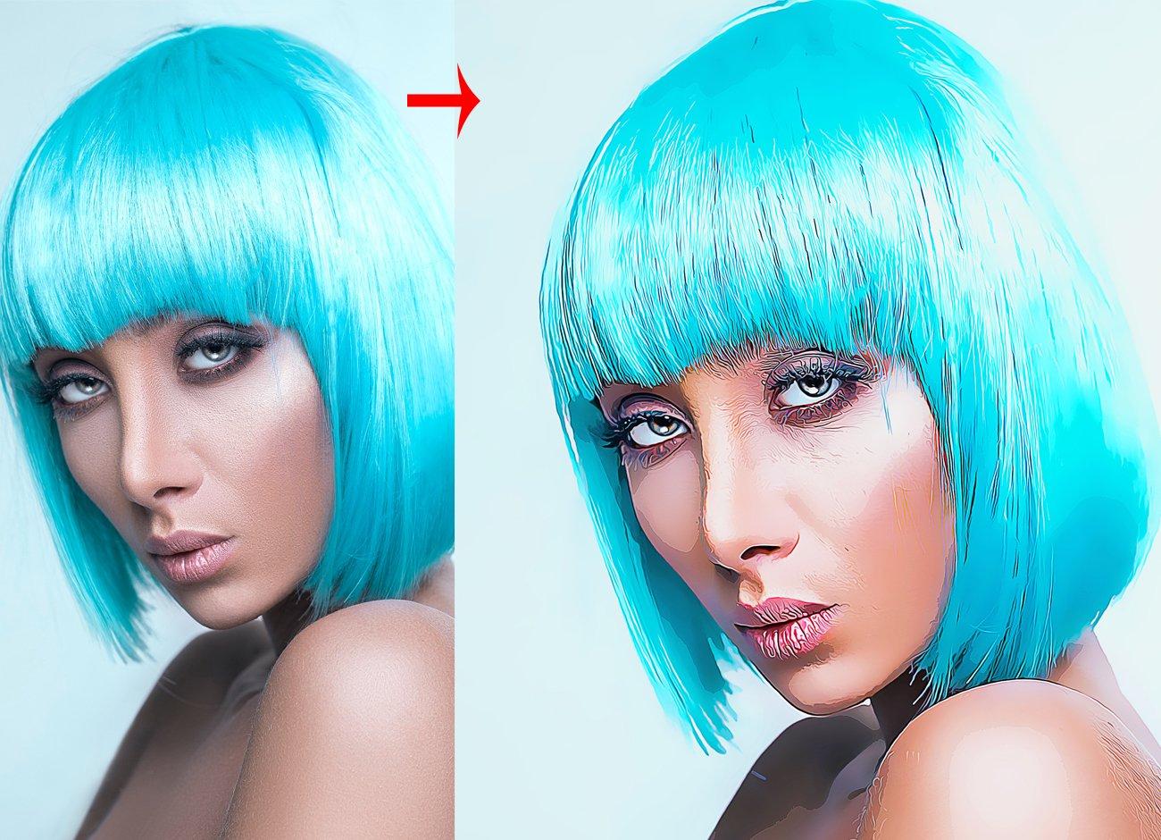 油画绘画效果照片处理特效PS动作模板 Vector Art Effect Photoshop Action插图3