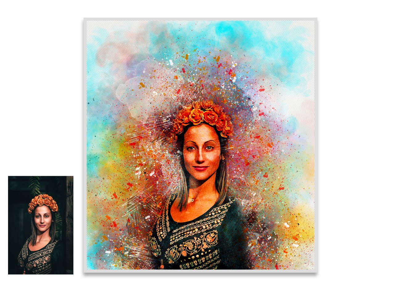 色彩分散碎片爆炸效果照片处理特效PS动作模板 Color Dispersion Photoshop Action插图2