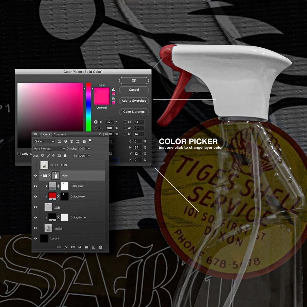 潮流复古喷雾瓶标签贴纸设计展示PS贴图样机模板 VSSSART – Browburner Spray Mockup插图2