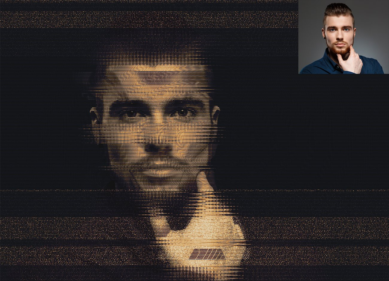 潮流故障风人像照片处理特效PS动作模板 Glitch Portrait Effect PS Action插图3