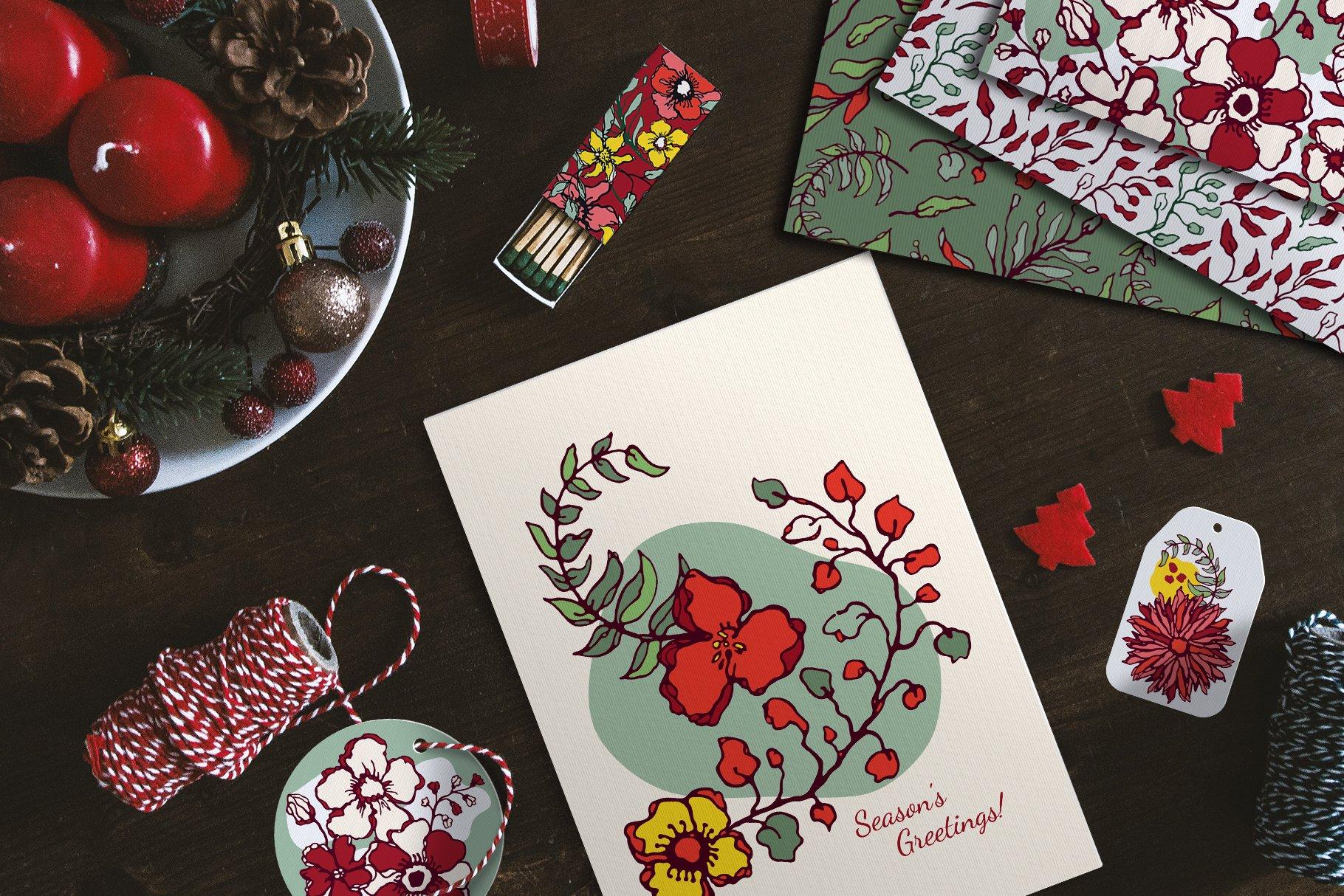 150多款时尚优雅花卉框架抽象形状手绘插画设计素材 Winter Floral Patterns & Elements插图2