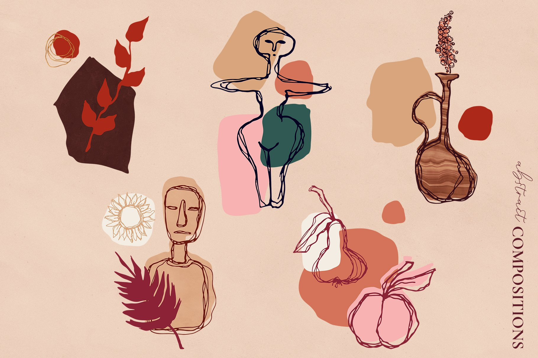 [单独购买] 现代优雅抽象花卉图形艺术线条金色箔纸设计套件 Abstract Line Art Design Kit插图2