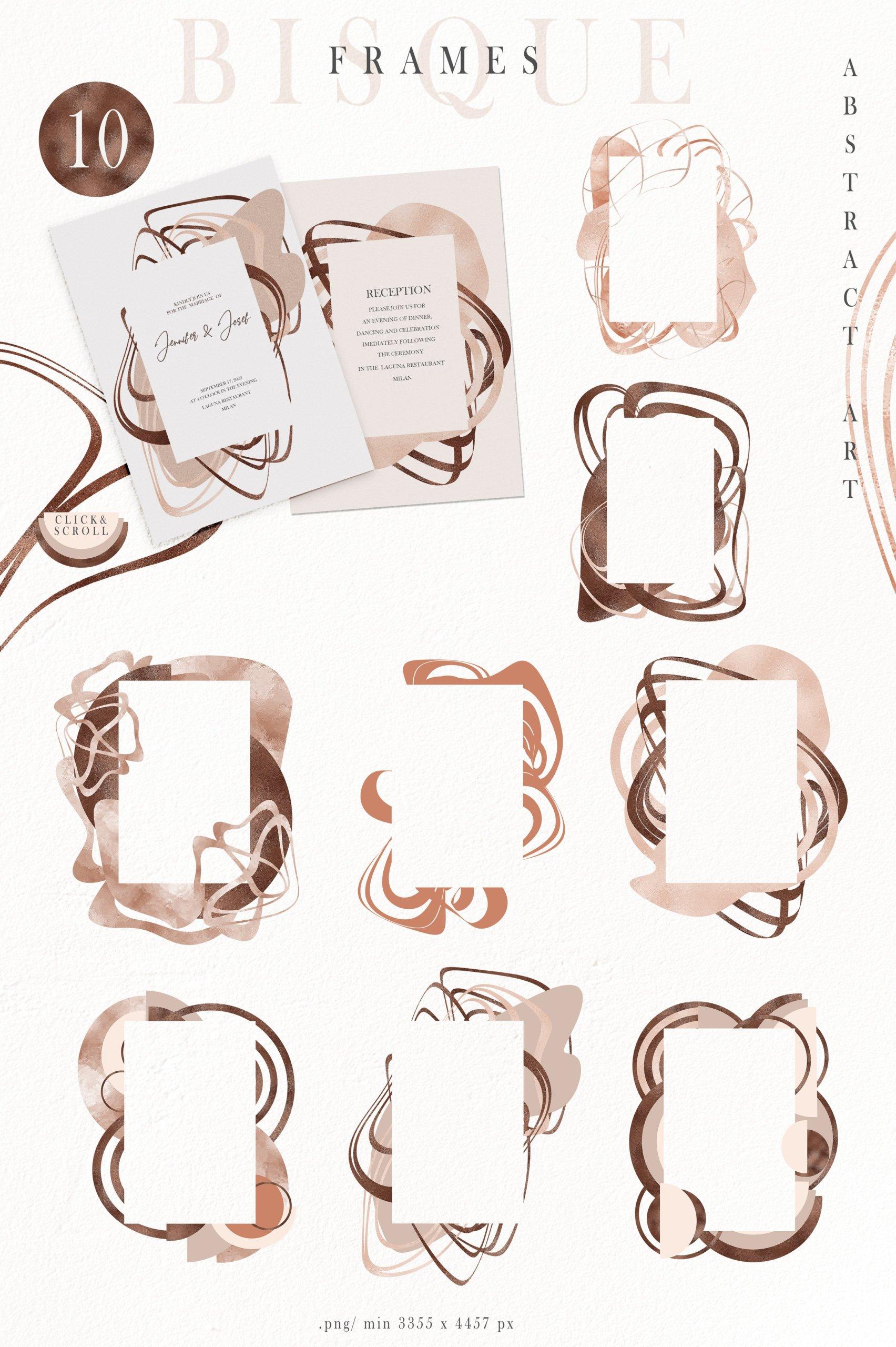抽象巧克力奶油线条图形符号字母PNG透明背景图片设计素材 Abstract Shapes, Line Art, Alphabet插图2