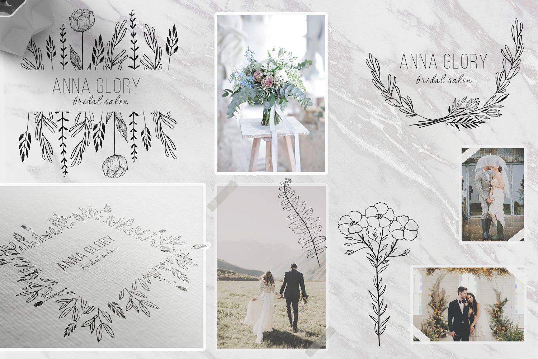 黑白线条手绘插画矢量设计素材 Floral Botanical Illustrations插图2