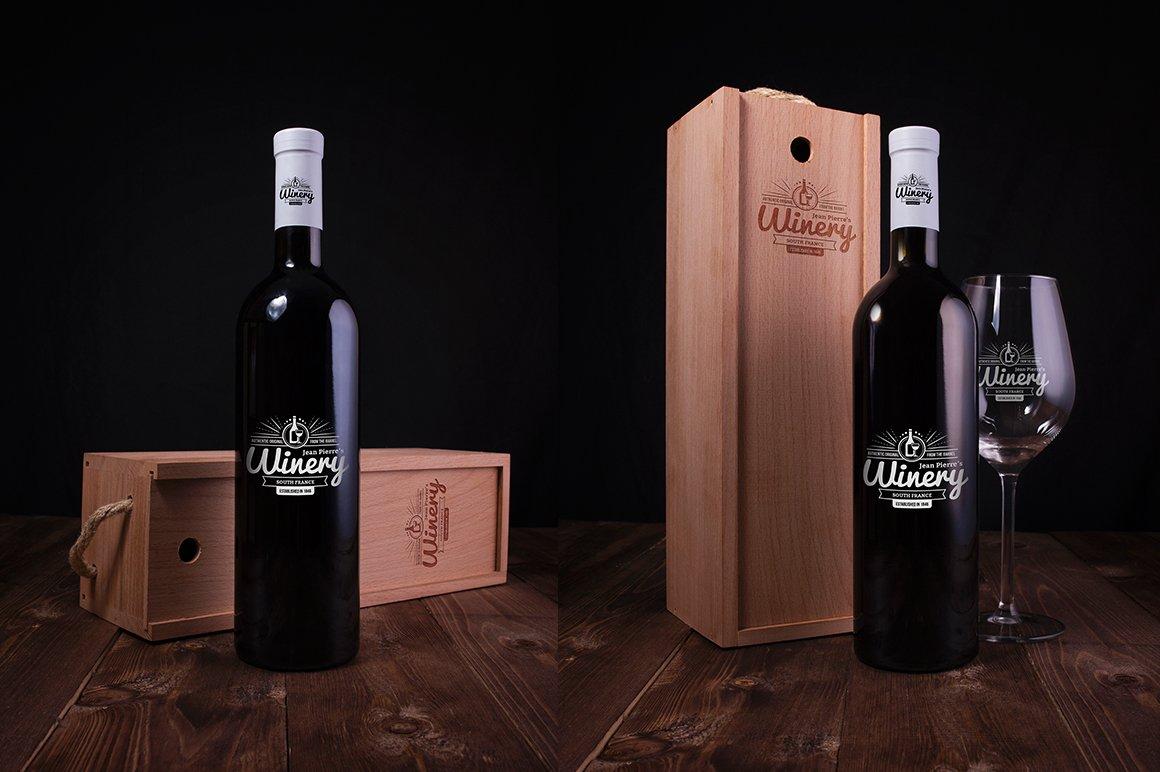6款高品质葡萄酒木质盒子设计展示贴图样机 Wine Bottle And Box Mockups插图2