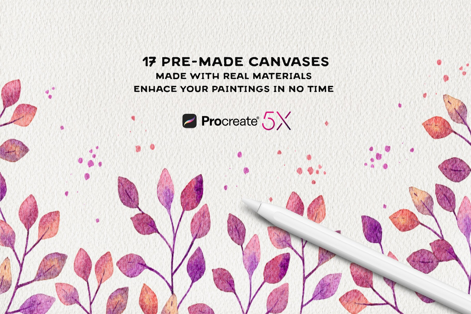 [单独购买] 17款逼真绘画画布背景Procreate纸纹理设计素材 Procreate Paper Texture Canvases插图2