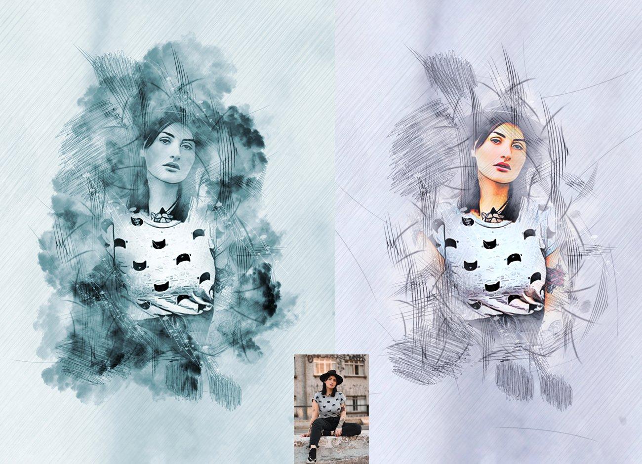 水墨素描效果照片处理特效PS动作模板 Ink Sketch Art Photoshop Action插图3