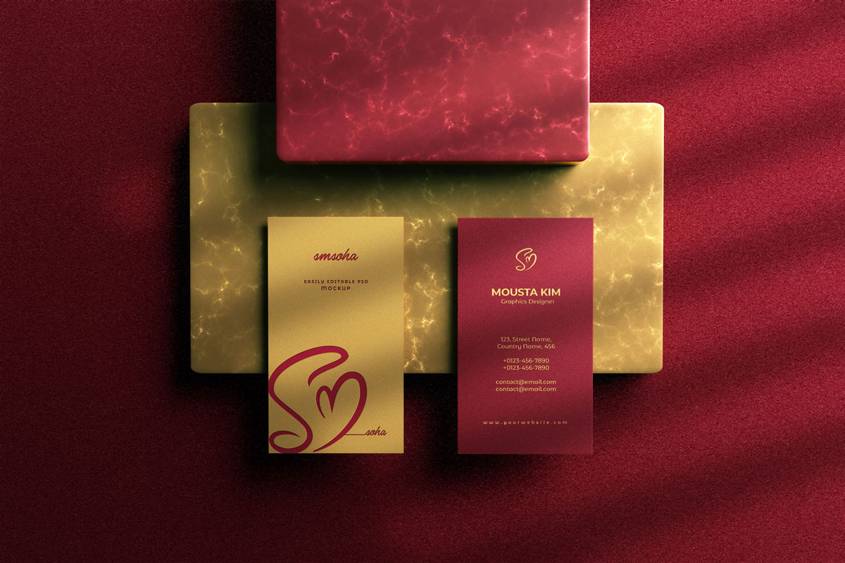 优雅商务名片卡片设计展示PSD样机模板 Elegant Business Card Mockup插图2