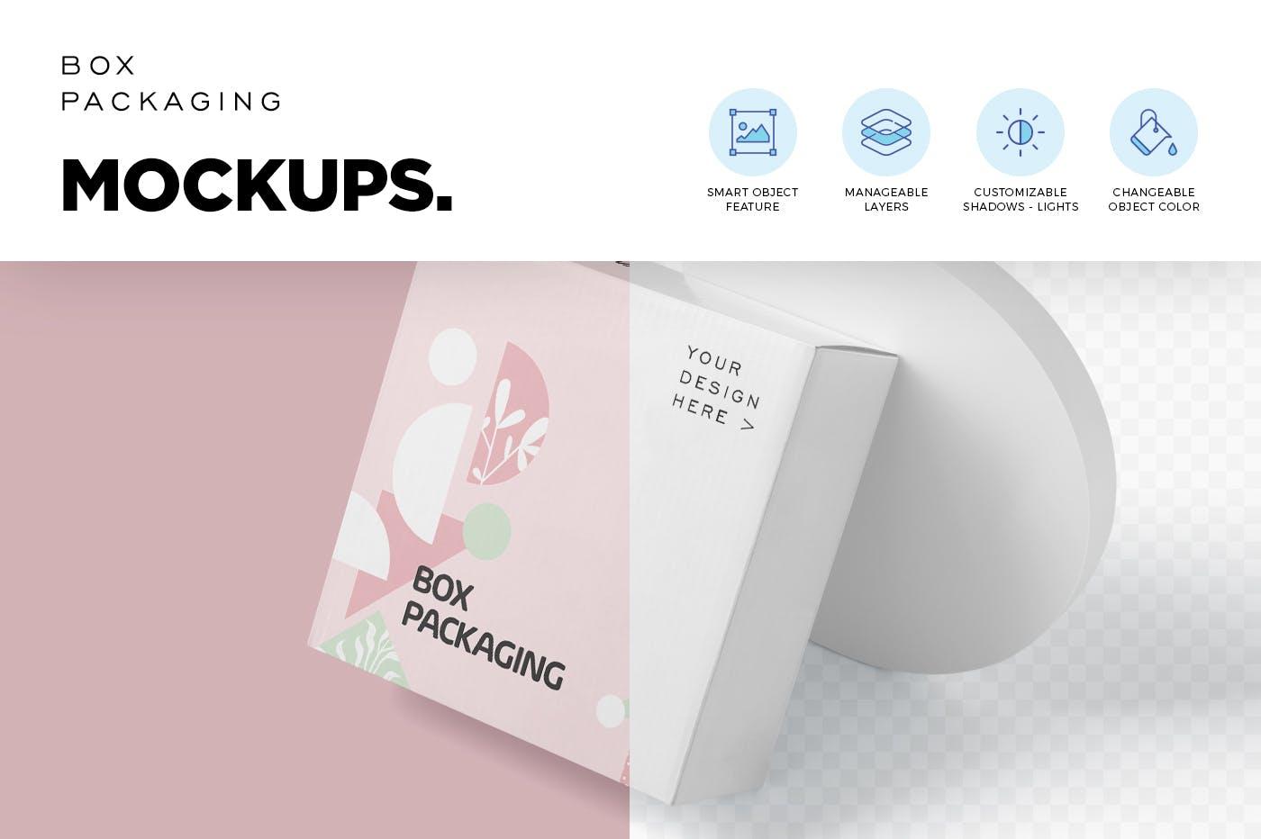 4款时尚产品包装纸盒外观设计PSD样机 Box Packaging Mockups插图2