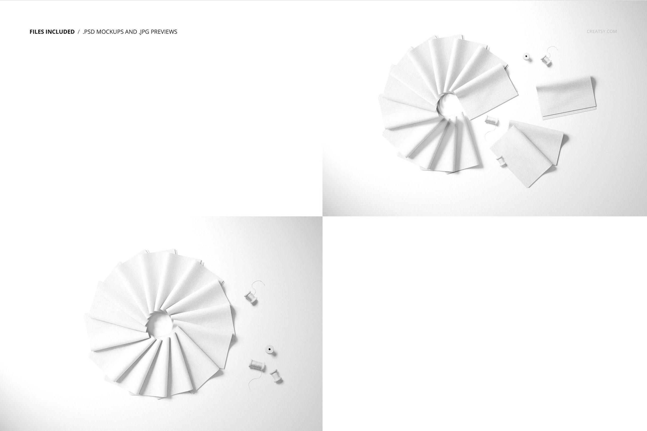 时尚折叠式绸缎面料印花图案设计贴图样机合集 Folded Fabric Swatches Mockup Set插图2