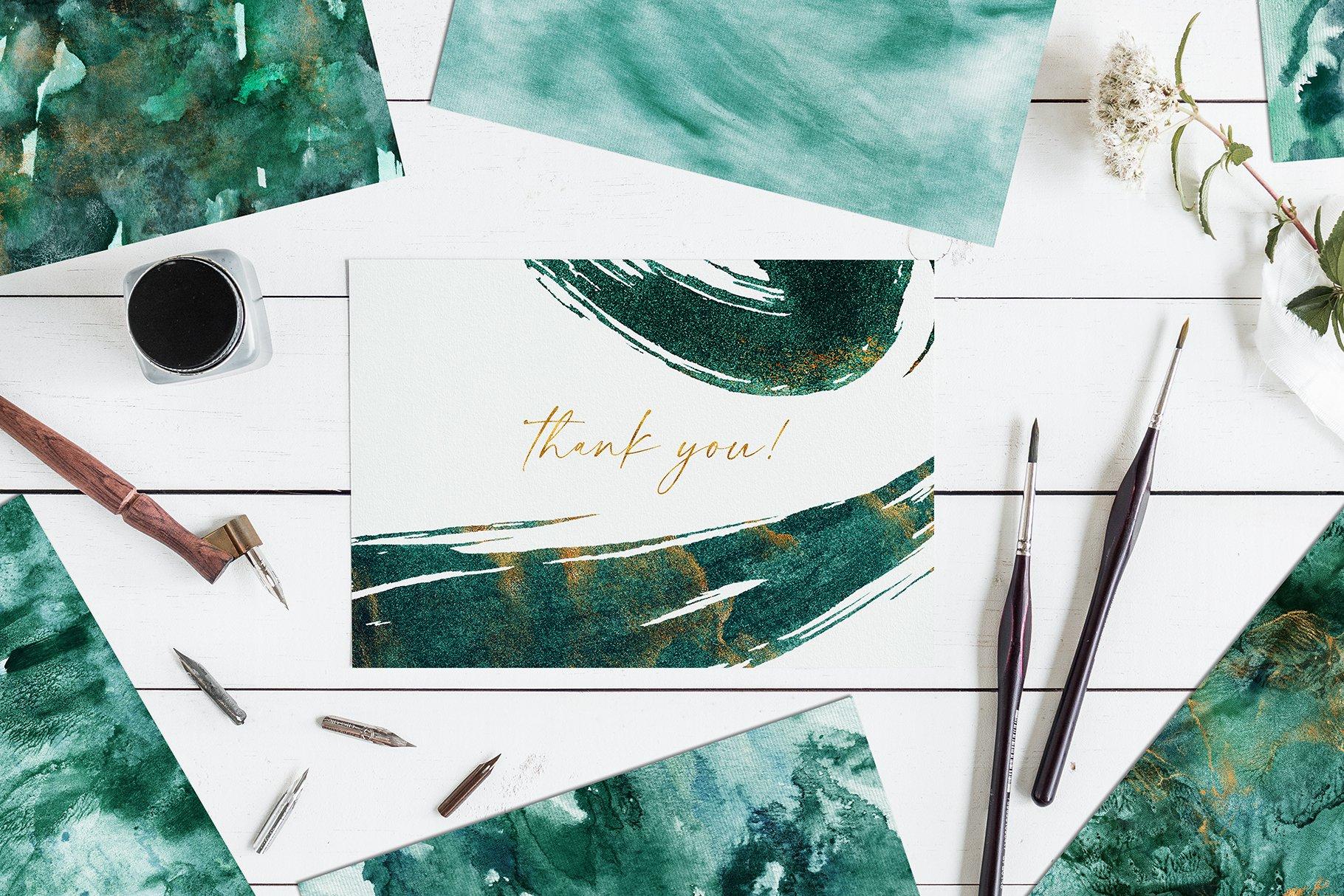 30款奢华翡翠墨绿流金水彩抽象艺术装饰背景底纹图片素材 Seamless Watercolor Backgrounds插图30