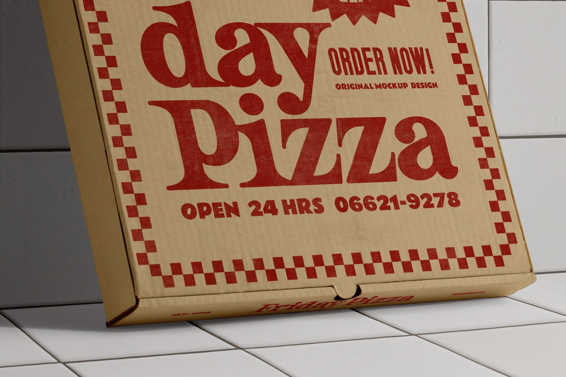 3款比萨外卖包装纸盒设计展示贴图样机 3 Pizza Box Mockup插图3