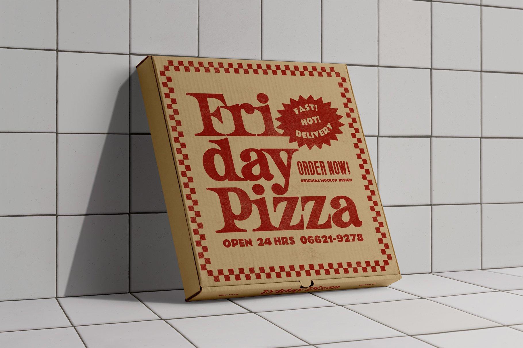 3款比萨外卖包装纸盒设计展示贴图样机 3 Pizza Box Mockup插图4