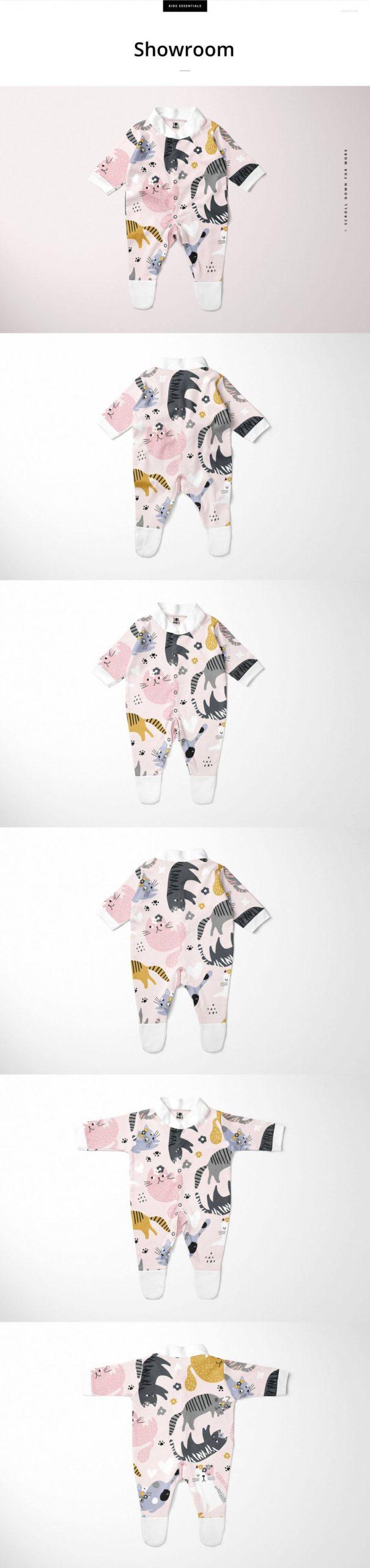 时尚婴儿连衣睡衣印花图案设计PS展示贴图样机合集 Babygrow Sleepsuit Mockup Set插图3