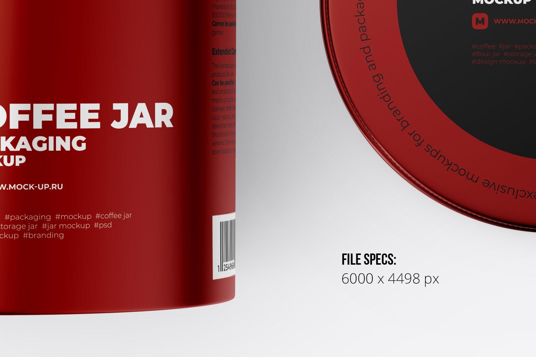 顶视图开盖茶叶零食金属罐标签设计展示贴图样机 Metallic Storage Open Jar. Top View插图2