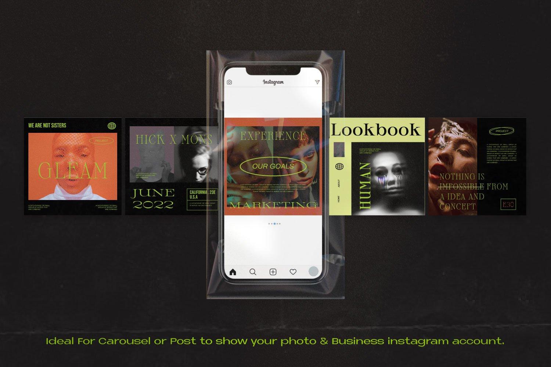 时尚潮流潮牌推广INS风新媒体电商海报设计PSD模板 GLEAM – New Hype Brand Social Media插图3