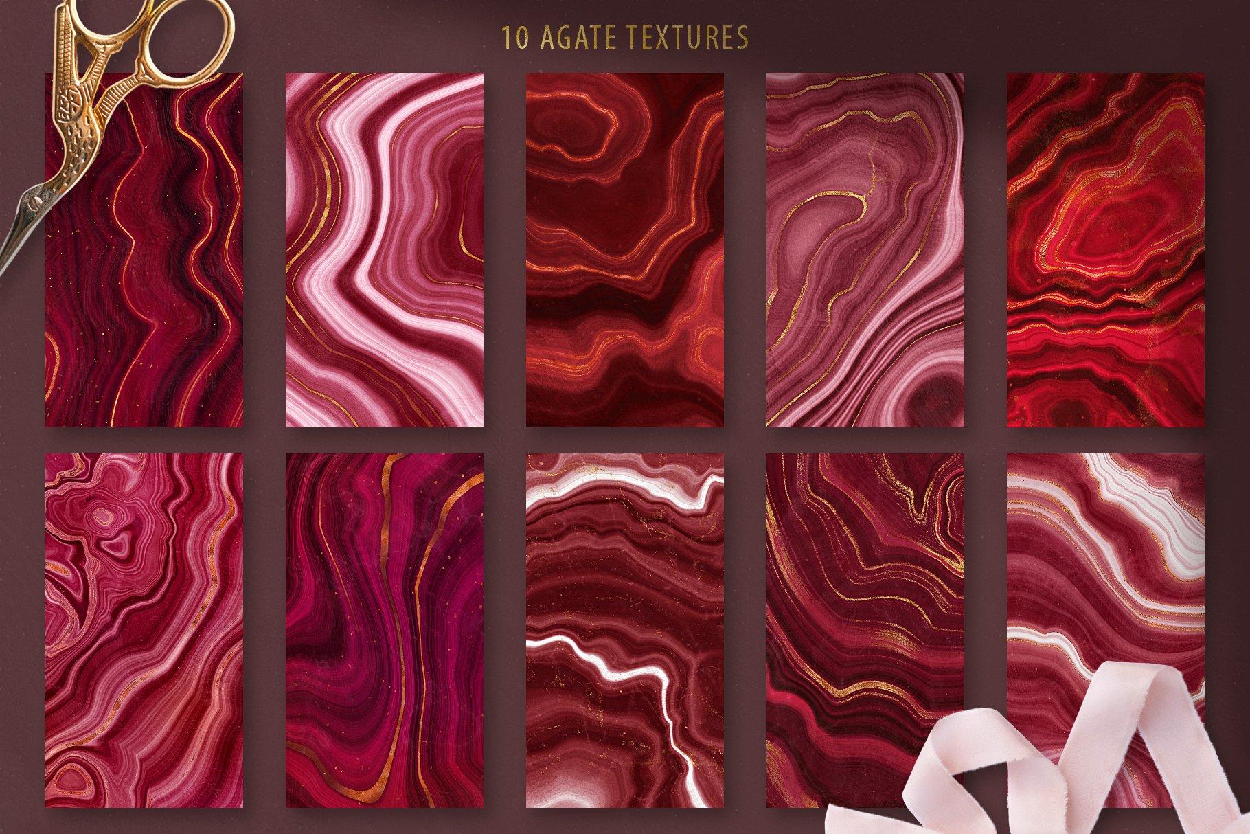 10款抽象奢华红色玛瑙石金箔纸纹理背景图片设计素材 Gold Veined Red Agate Textures插图1