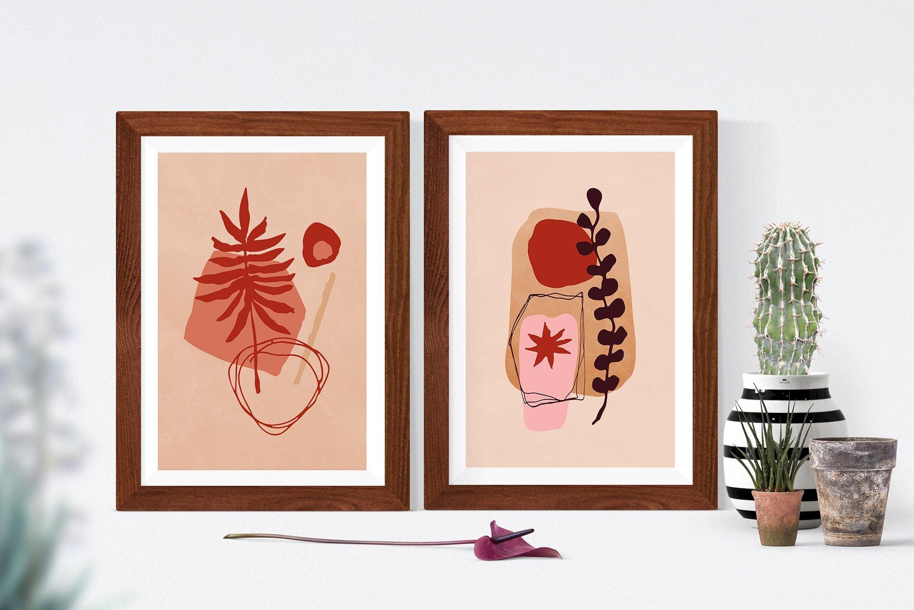 [单独购买] 现代优雅抽象花卉图形艺术线条金色箔纸设计套件 Abstract Line Art Design Kit插图3