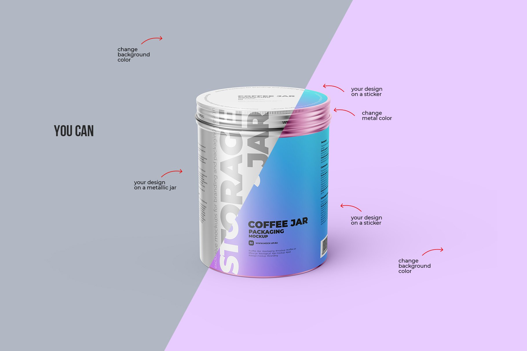 食品茶叶金属锡罐设计展示贴图样机模板 Metallic Storage Jar Angle View插图3