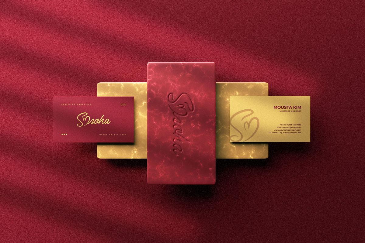 优雅商务名片卡片设计展示PSD样机模板 Elegant Business Card Mockup插图3