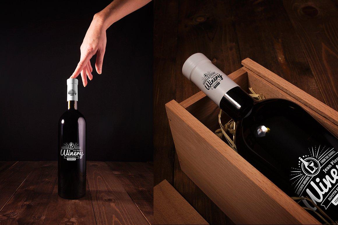 6款高品质葡萄酒木质盒子设计展示贴图样机 Wine Bottle And Box Mockups插图3