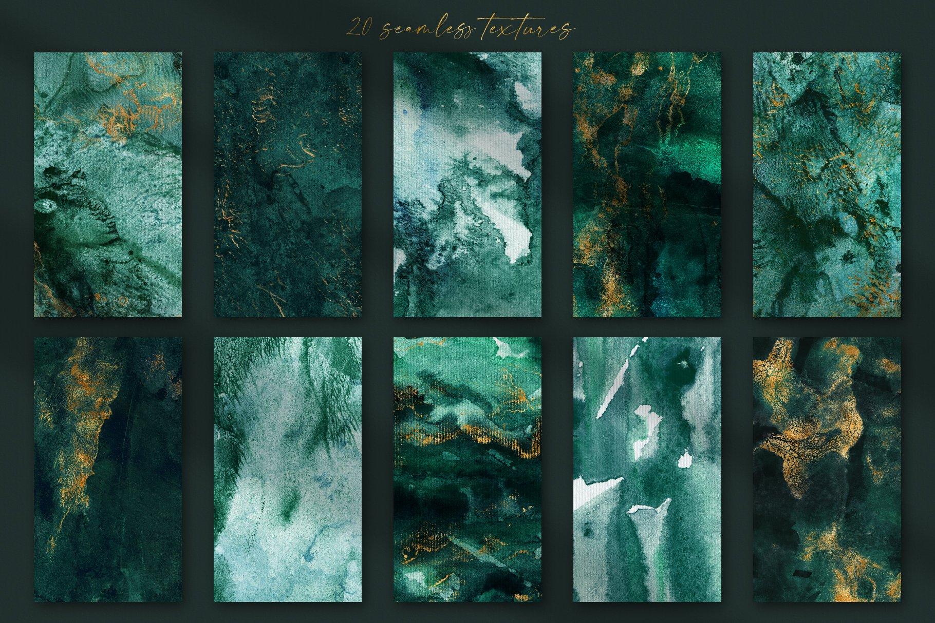 30款奢华翡翠墨绿流金水彩抽象艺术装饰背景底纹图片素材 Seamless Watercolor Backgrounds插图3