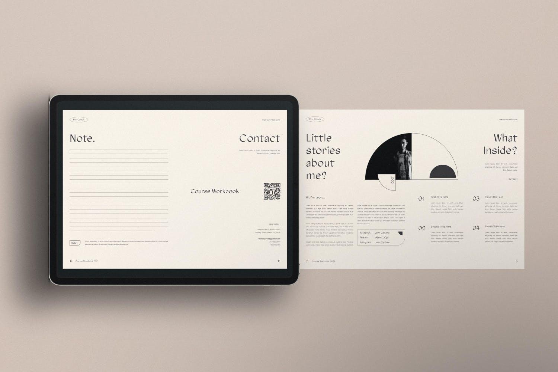 时尚简约杂志画册课程工作簿设计INDD模板素材 Course Workbook插图3