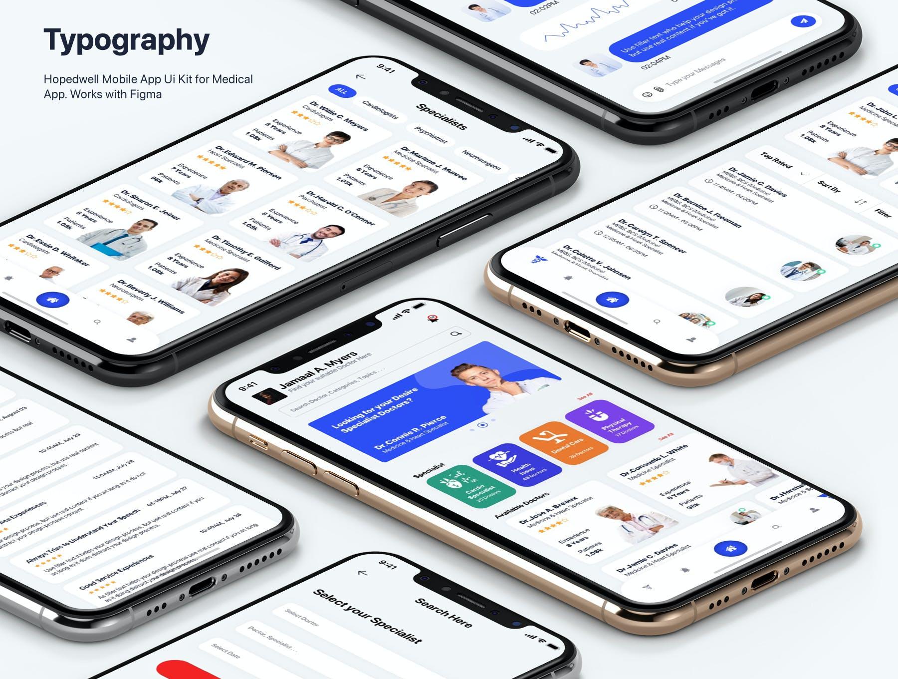 医院挂号卫生保健APP应用程序UI界面设计套件 Hospital & HealthCare Mobile App UI插图3