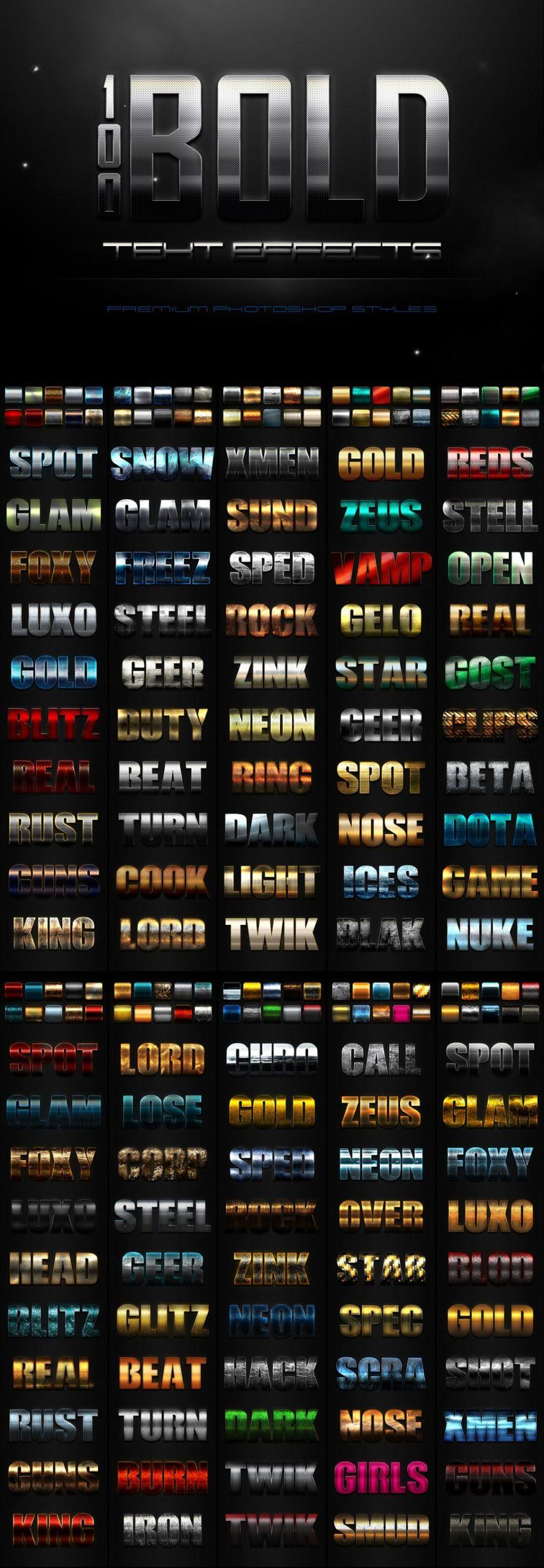 900多款3D立体金属质感标题Logo设计PS文字样式模板 900 Premium Photoshop Text Effects插图4