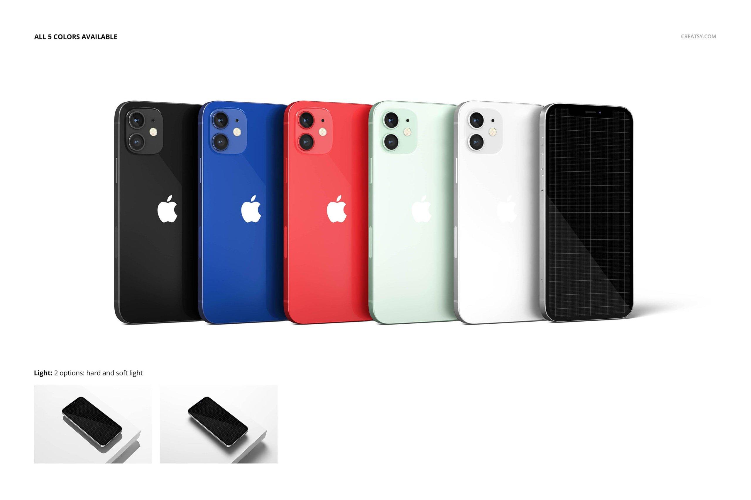 [单独购买] 26款时尚光滑苹果iPhone 12手机保护壳设计PS贴图样机模板素材 iPhone 12 Glossy Snap Case 1 Mockup插图23