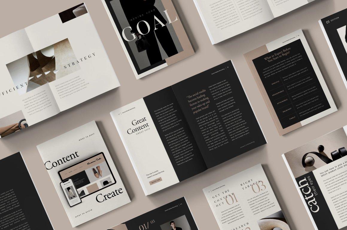 [淘宝购买] 4套现代时尚黑金杂志画册电子书新媒体海报设计PSD模板素材合集 4 In 1 Bundle For Creators CANVA PS插图41